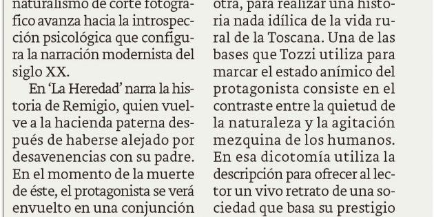 """""""La heredad"""" de Federigo Tozzi, en el Correo"""
