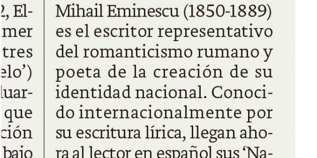 """Reseña de """"Narraciones"""", de Mihai Eminescu, en El Correo"""