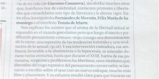 """""""Libertinos, pornógrafos e ilustrados"""" en el diario La Opinión de Murcia"""