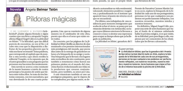 """""""La felicidad en blíster"""" de Miguel Á. Cáliz en el diario La Opinión"""